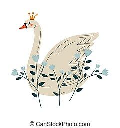 beau, doré, conte fées, cygne, couronne, illustration, princesse, fleurs, vecteur, blanc, agréable, oiseau