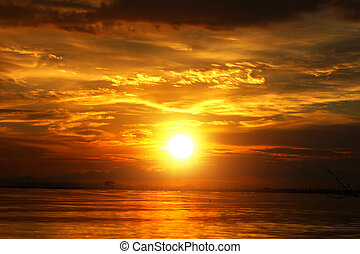 beau, doré, nuages, sky., coucher soleil, twilight.