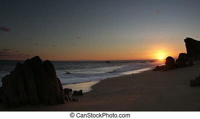 beau, droit, coup, mexique, portées, bas, ocean., qualité, secteur, là, los, surprenant, sur, autour de, californie, pacifique, baja, désert, ceci, lumière, cabo, timelapse, coucher soleil, où