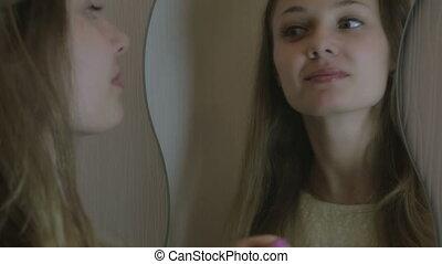 beau, elle, redresse, cheveux, girl, miroir.