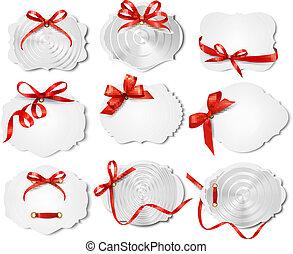 beau, ensemble, cadeau, arcs, vecteur, ribbons., cartes, rouges
