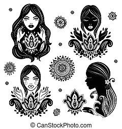 beau, ensemble, lotus, filles, vecteur, méditation