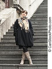 beau, escalier, girl, mode, poser