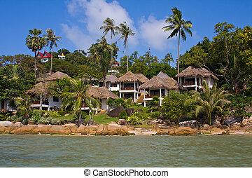 beau, exotique, maisons, mer, thaïlande, vue