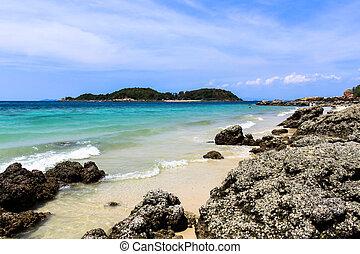 beau, exotique, plage., thaïlande