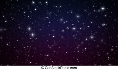 beau, fait boucle, hd, animation., flares., space., scintillement, clair, profond, étoiles, nuit, ultra, 3840x2160., 4k