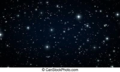 beau, fait boucle, hd, sky., animation., flares., scintillement, noir, 4k, étoiles, nuit, ultra, 3840x2160.