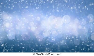 beau, fait boucle, seamless., animation., doux, 3840x2160., bleu, lent, concept., neige, tomber, noël, 3d, cercles, fetes, fond, hd, célébration, mouvement, brise, 4k, ultra