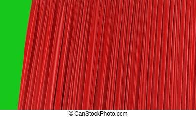 beau, fait boucle, utile, résumé, unique, transitions, seamless, arrière-plan., animation, rideau, rouges, 3d, révéler, uhd, ouverture, screen., alpha, masque, réaliste, vert, 4k, fermer