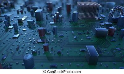 beau, fait boucle, vol, dof., carte mère, sur, animation, circuit, numérique, board., technologie, concept., 3d