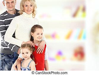 beau, famille, sur, -, isolé, quatre, fond, portrait, sourire, blanc, heureux