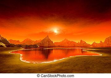 beau, fantasme, sur, océan coucher soleil