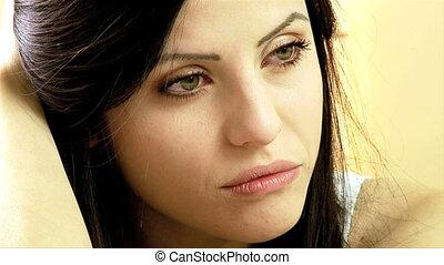 beau, femme pensée, triste