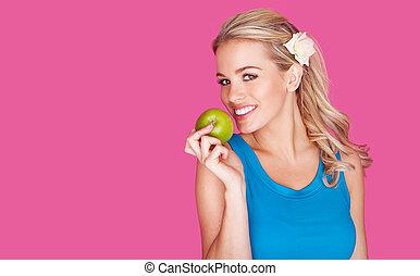 beau, femme saine, pomme, jeune