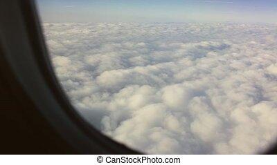 beau, fenêtre, avion, nuages, vue