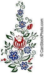 beau, feuilles, élément, conception, floral, fleurs, element.