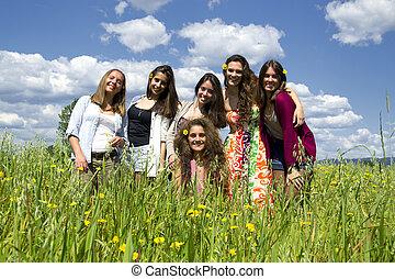 beau, field., filles, jeune