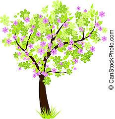 beau, fleur, feuilles, arbre, vert, floral, fleurs