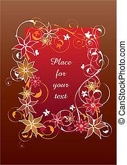 beau, floral, cadre, rouges