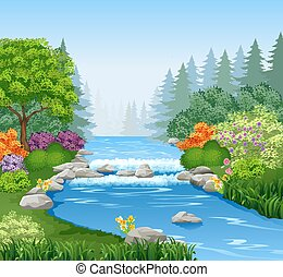 beau, forêt, rivière, montagne