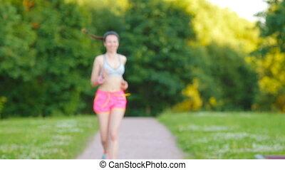 beau, formation, femme, course, coureur, -, jeune, courant, dehors, outdoors., sport, girl, marathon