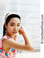 beau, girl, asiatique