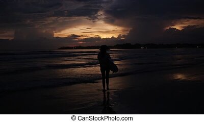 beau, girl, coucher soleil, planche surf