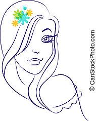 beau, girl, fleurs, silhouette, linéaire