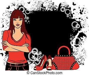 beau, girl, mode, achats