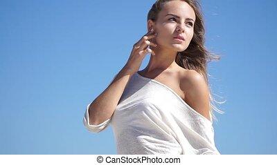 beau, girl, robe, blanc, dehors