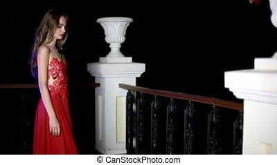 beau, girl, robe, rouges, balcon