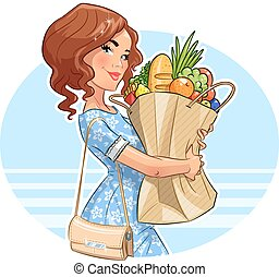 beau, girl, shopping., products., paquet