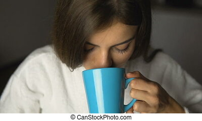 beau, girl, temps, café, apprécie