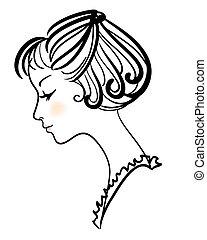 beau, girl, vecteur, illustration, figure