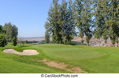 beau, golf, arbres, cours, pin, paysage