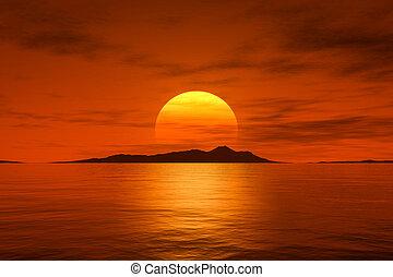 beau, grand, sur, océan, fantasme, coucher soleil