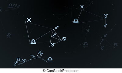 beau, groupe, former, animation., stars., constellation., étoiles, plexus, signes zodiaque, boucle