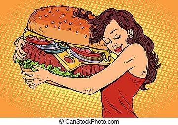 beau, hamburger, femme, jeune, étreindre