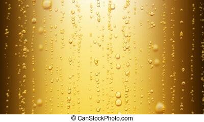 beau, haut., 1080., étincelant, loopable, eau, arrière-plan., bière, animation, levée, jaune, bulles, hd, 3d