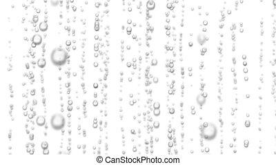 beau, haut., loopable, eau, animation, levée, étincelant, backgrounds., noir, bulles, blanc, 3d