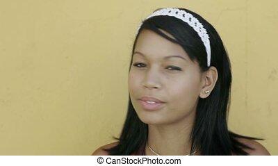 beau, hispanique, sourire, adolescent