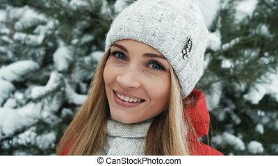 beau, hiver, fond, blond, sourire, paysage