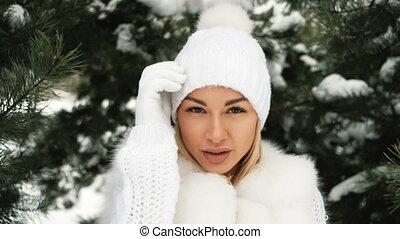 beau, hiver, jeune, forest., portrait, blond