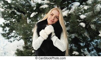 beau, hiver, photographe, blond, poses, paysage