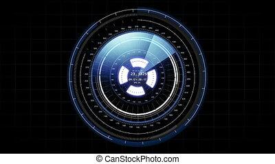 beau, hud, concept, informatique, cible, radar, head-up, élevé, rotation., data., technologie, futuriste, exposer, element., scanner