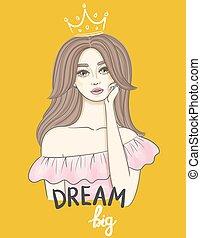 beau, idea., femme, concept, texte, couronne, jeune, long, main, cheveux, écrit, ondulé, big., rêver, girl, rêve