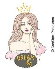 beau, idea., ondulé, concept, sketch., texte, couronne, jeune, long, main, cheveux, écrit, femme, big., rêver, dessiné, girl, rêve