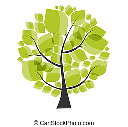 beau, illustration., arbre, vecteur, arrière-plan vert, blanc