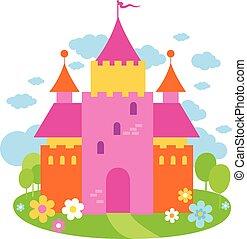 beau, illustration, conte, vecteur, fée, castle.