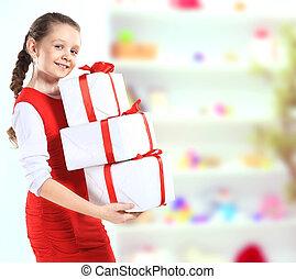beau, image, boîtes, girl, cadeau
